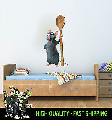 Printed Wall Art Ratatouille Mouse Graphic Sticker Kids Bed Room