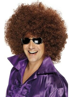 Brown 1970's Disco Afro Wig, Mega-Huge Adult Unisex Smiffys Fancy Dress Costume
