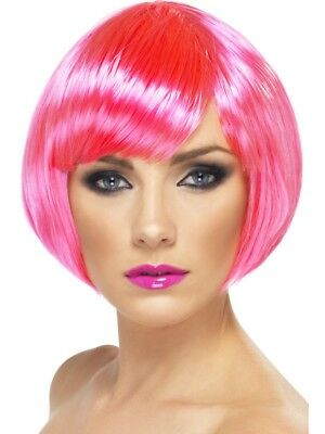 Neon Pink Babe Wig Short Bob w/ Fringe Adult Womens Smiffys Fancy Dress Costume