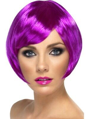 Purple Babe Wig Short Bob with Fringe Adult Womens Smiffys Fancy Dress Costume