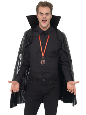 PVC Vampire Cape Adult Unisex Smiffys Fancy Dress Costume Accessory