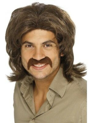 Brown 1970's Disco Retro Wig Adult Mens Smiffys Fancy Dress Costume
