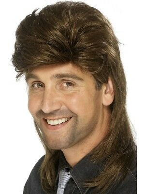 1980's Brown Mullet Wig Adult Mens Smiffys Fancy Dress Costume