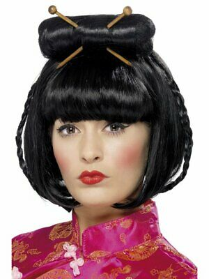 Black Oriental Lady Wig Adult Womens Smiffy Around the World Fancy Dress Costume