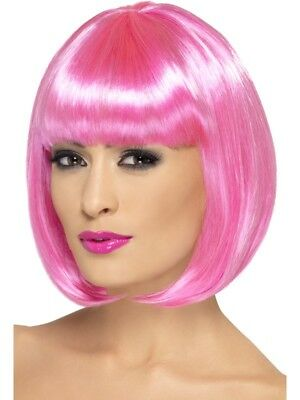 Pink Partyrama Wig, Short Bob Adult Womens Smiffys Fancy Dress Costume