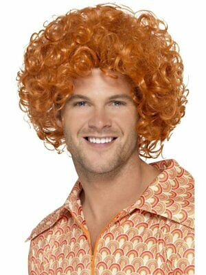 Ginger 1970's Disco Curly Afro Wig Adult Mens Smiffys Fancy Dress Costume
