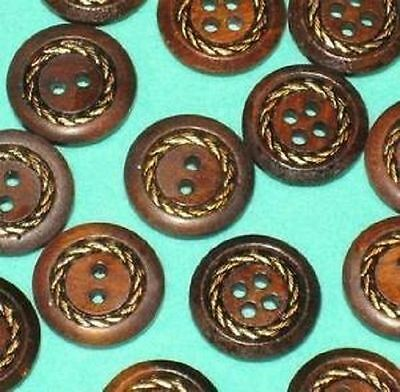 Set 14 Dark WOOD Vintage new Fancy METAL InSeT Buttons 5/8""