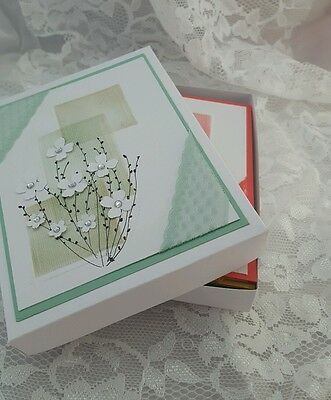 Lot of 5 and box  Handmade Stampin Up Greeting Cards Hand drawn flowers