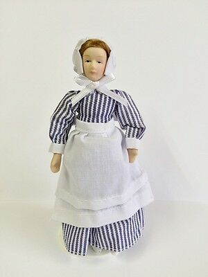 Female Porcelain Cook With Stand Included, Dolls House Miniature, 1.12th Scale