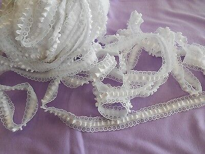 "BULK satin ribbon tufted lace white etched daisies 40 yds x 1"" w free ship 14.99"