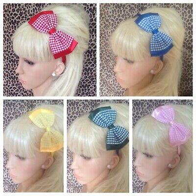 Gingham Check Double Bow Satin Fabric Aliceband Hair Band Headband School Girls