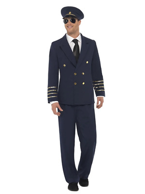 Mens Airline Pilot Costume Captain Aviator Suit Uniform Adult Fancy Dress Outfit
