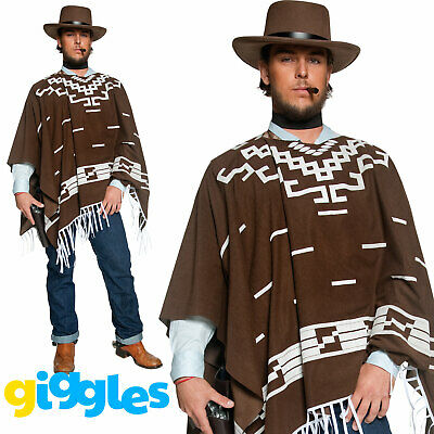 Mens Poncho Costume Wandering Gunman Cowboy Clint Eastwood Fancy Dress Outfit