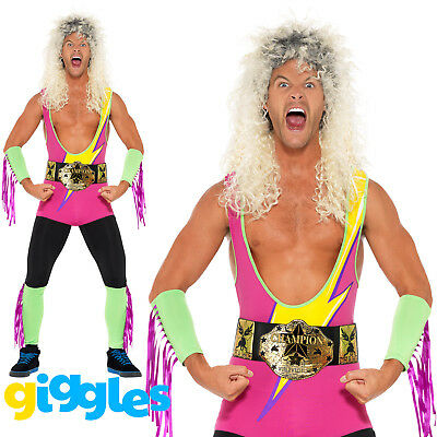 Adult Mens Wrestler Costume Bodysuit WWF 80s 90s Retro Stag Fancy Dress Outfit