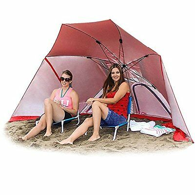 NEW Red 2 in 1 Umbrella Shelter  Beach Cabana Tent Sun Sets up Seconds!!