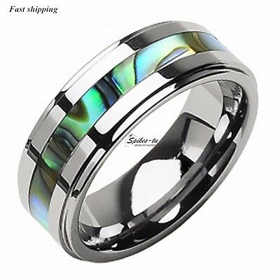 8Mm Tungsten Stunning jade&Abalone Stripe Inlaid Wedding Band Ring Mens jewelry