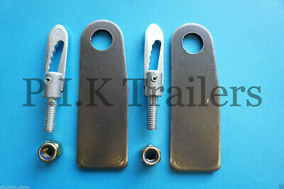 2 x Anti Luce M12 x 34mm Drop Catch Fasteners & XL Eye PLATES for Trailers