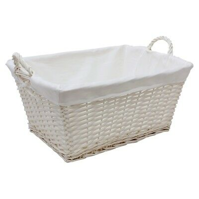 JVL White Willow Wicker Rectangular Linen Washing Laundry Basket Handles
