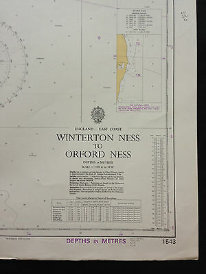 """Nautical Navigation Chart """"Winterton Ness To Oxford Ness"""" 18th October 1974"""