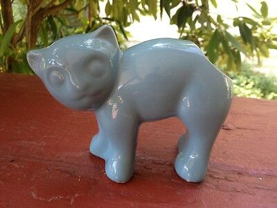 VINTAGE pottery GLAZED CERAMIC blue CAT planter PENCIL HOLDER cup small planter