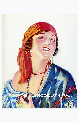 Pin Up Girl Poster 11x17 exotic flapper maiden dame art deco blonde night gown