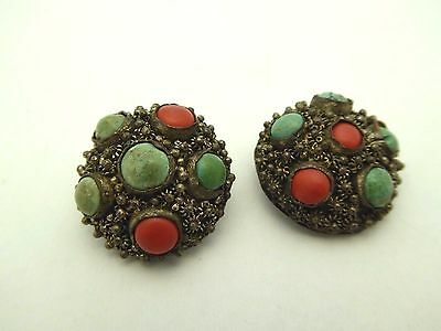 Two Vintage Silver Tone Ornate Filigree Turquoise Coral Chinese Export Buttons
