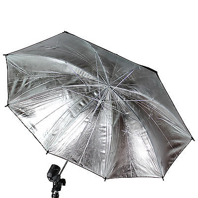 "Studio Photo Strobe Pro Flash Light Reflector Black Silver Umbrella 83cm 33"" US"