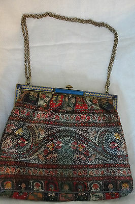 Antique Victorian Handwoven Paisely Textile  Hand Stitched Purse