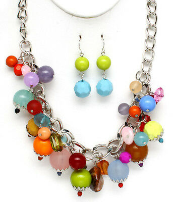 Multi color Acrylic necklace pierced earring set pink blue yellow green orange