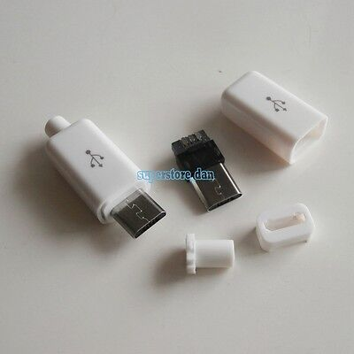 10X Micro USB 5 Pin Type-B Male 4-Piece Solder Connector Plug White Cover