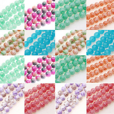 25/50Pcs Marble Effect Glass Drawbench Beads Jewelry DIY 11 Colour Choice