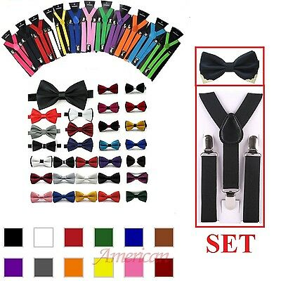 Hot SUSPENDER and BOW TIE Matching SET Tuxedo Wedding Suit  Prom Party US SHIP