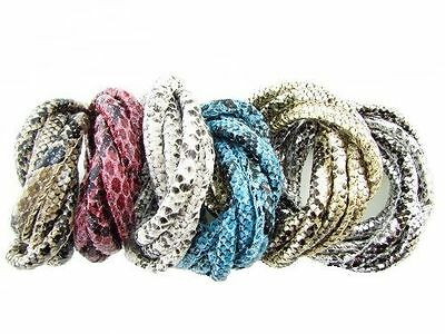 Wholesale Snake Skin Faux Leather Cord Jewelry Making Bracelet Necklace DIY 6mm