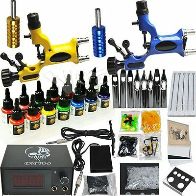 Professional Complete Tattoo Kit 2 Top Rotary Machine Gun 14Color Ink 50 Needles
