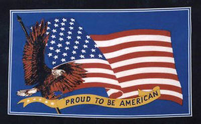 PROUD TO BE AMERICAN 5x3 BLUE FLAG WITH FAMOUS GOLDEN EAGLE USA STARS & STRIPES