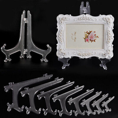 1xPlastic Display Easel Plate Picture Frame Stand Holder Folding Hinged 3-11