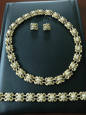 Diamond  14k Yellow Gold Necklace set bracelet and  earrings 5.45 carat round
