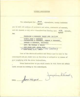Jacqueline Jackie Kennedy Hand Signed Document Autographed 1968