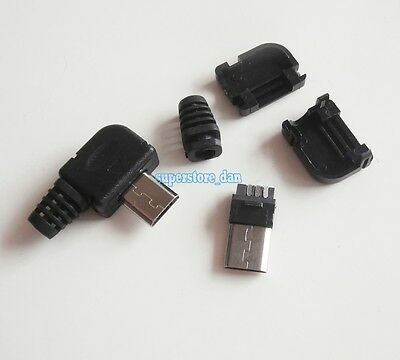 10X Micro USB 5 Pin Right Angle Male Plug Socket Connector& Plastic Cover Tail B