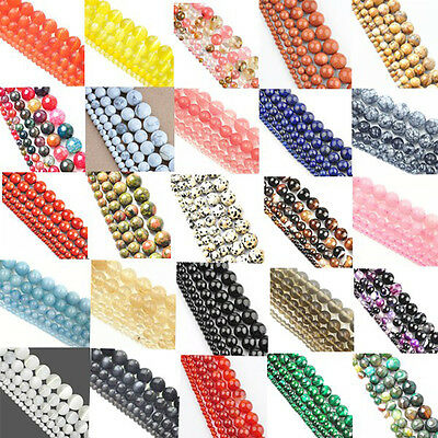 DIY New Natural Gemstone Agate Spacer Loose Beads Jewelry 4mm 6mm 8mm 10mm 12mm
