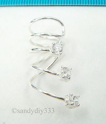 1x STERLING SILVER CLIP-ON cz crystal WRAPPED CUFF EARRINGS for RIGHT EAR #2504