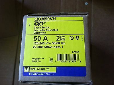 Square D QOM50 VH BREAKER 50  Amp 2 Pole 120/240 Volt NEW IN BOX
