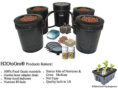 5 Gallon, 4 Site Circulating Hydroponic DWC BUCKET Bubbler System FREE SHIPPING