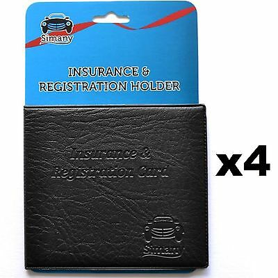 4 AUTO CAR TRUCK INSURANCE REGISTRATION CARD WALLET HOLDER Embossed Faux-Leather