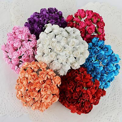 8Color 144pcs/Pack Mini Artificial Paper Rose Buds Flowers DIY Craft for Wedding