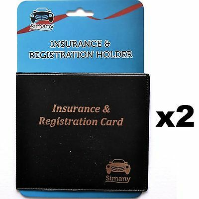 "2 Black AUTO CAR TRUCK INSURANCE REGISTRATION CARD HOLDER WALLET 5.25x4.6"" Vinyl"