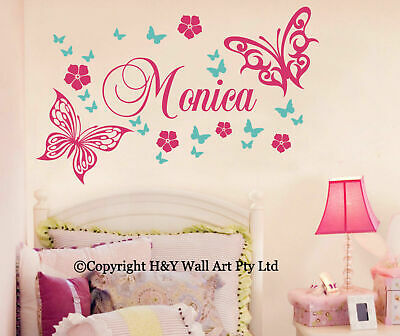 Butterfly Flowers Custom Personalised Name Wall Stickers Kid Girls Nursery Decor