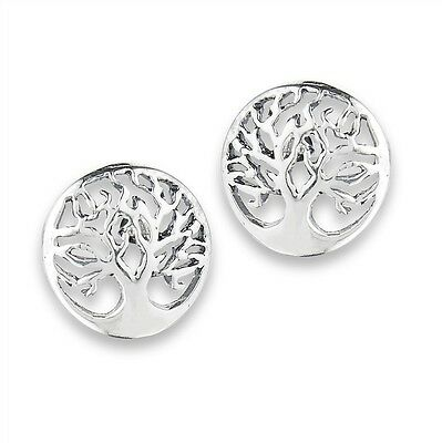 TREE OF LIFE Sterling Silver Post Stud Earrings Outlined Tree Style Jewelry