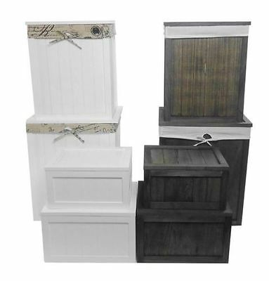Shabby Chic White Brown Pine Wooden Laundry Basket Toy Box Storage Chest + Lid