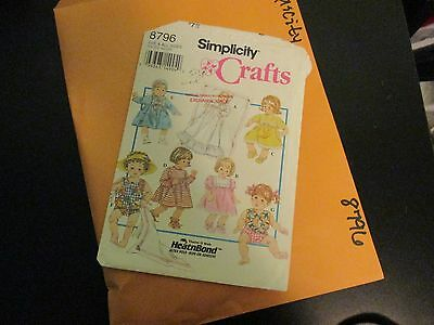 Vintage Simplicity Sewing Pattern~8796~Doll Clothing & Accessories